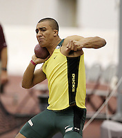 Ashton Eaton of the Univ. of Oregon set a NCAA Record in the Heptathlon with a score of 6256 points at the Texas A&M Challenge held at Texas A&M Gilliam Indoor Track Stadium, College Station,Tx. on January 29th. and 30th. 2010. Image by Errol Anderson