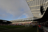 SWANSEA, WALES - FEBRUARY 21: A rainbow appears over the stadium during the Barclays Premier League match between Swansea City and Manchester United at Liberty Stadium on February 21, 2015 in Swansea, Wales.
