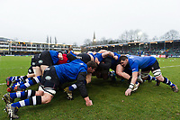 Bath Rugby forwards in action during the pre-match warm-up. Anglo-Welsh Cup match, between Bath Rugby and Newcastle Falcons on January 27, 2018 at the Recreation Ground in Bath, England. Photo by: Patrick Khachfe / Onside Images