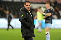 Head Coach Dave Rennie of Glasgow Warriors during the pre match warm up for the Guinness Pro14 Round 8 match between the Ospreys and Glasgow Warriors at the Liberty Stadium in Swansea, Wales, UK. Friday 2nd November 2018