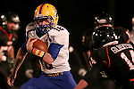 HOWARD, SD - NOVEMBER 8:  Grant Johnson #18 from Alcester Hudson looks to get past Gunner Gilbertson #14 from Howard in the first half of their Class 9A Semifinal game Saturday night in Howard. (Photo by Dave Eggen/Inertia)