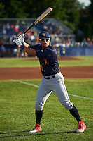 State College Spikes third baseman Danny Hudzina (15) warms up before a game against the Batavia Muckdogs on June 24, 2016 at Dwyer Stadium in Batavia, New York.  State College defeated Batavia 10-3.  (Mike Janes/Four Seam Images)