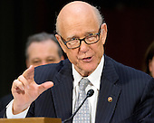 United States Senator Pat Roberts (Republican of Kansas) makes remarks introducing US Representative Mike Pompeo (Republican of Kansas) to the US Senate Select Committee on Intelligence during a confirmation hearing on Pompeo's nomination to be Director of the Central Intelligence Agency (CIA) on Capitol Hill in Washington, DC on Thursday, January 12, 2017.<br /> Credit: Ron Sachs / CNP