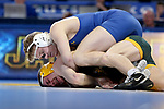 BROOKINGS, SD - FEBRUARY 11: Henry Pohlmeyer from South Dakota State University controls Jaden Van Maanen from North Dakota State University during their 149 pound match Friday night at Frost Arena in Brookings, SD. (Photo by Dave Eggen/Inertia)
