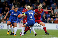 Laura Coombs of Liverpool Ladies challenges Chelsea's Katie Chapman as Drew Spence looks on during Chelsea Ladies vs Liverpool Ladies, FA Women's Super League FA WSL1 Football at Kingsmeadow on 7th October 2017