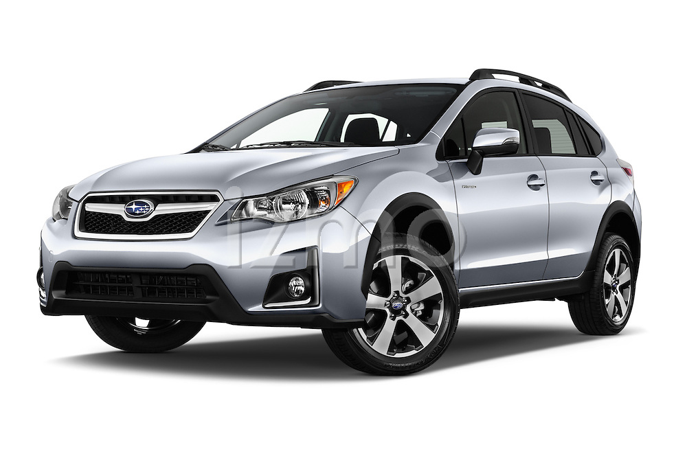 Stock pictures of low aggressive front three quarter view of 2016 Subaru Crosstrek Hybrid-Touring 5 Door SUV Low Aggressive
