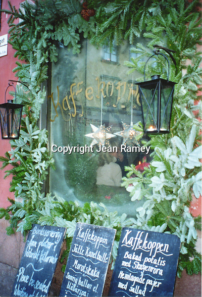 Cafe decorated for Christmas in Sweden