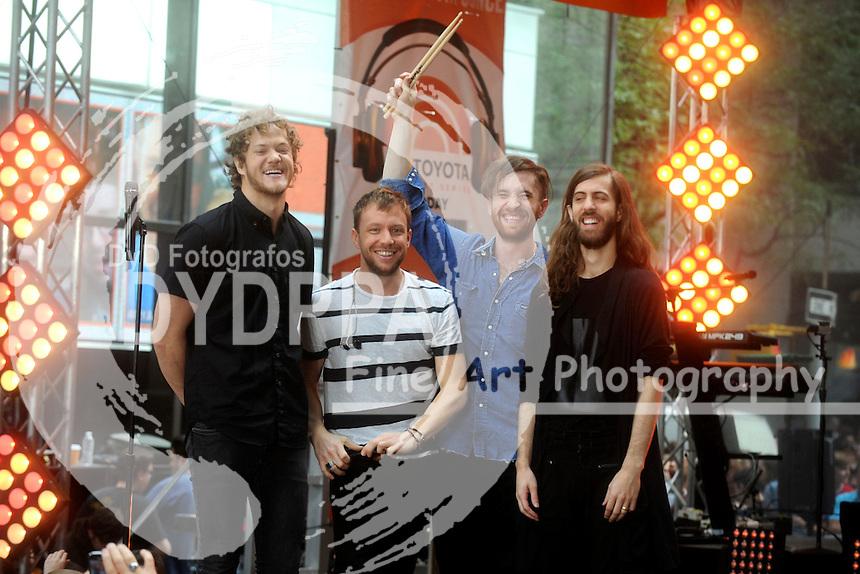 Dan Reynolds, Ben McKee, Daniel Platzman and Daniel Wayne Sermon of Imagine Dragons perform at NBC's 'Today Show' at Rockefeller Plaza on June 26, 2015 in New York City.