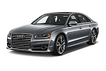 2018 Audi S8 Plus quattro Tiptronic 4 Door Sedan angular front stock photos of front three quarter view
