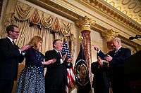 United States President Donald J. Trump gestures to Mike Pompeo, U.S. secretary of state, before he is sworn in, at the State Department, in Washington, D.C., U.S., on Wednesday, May 2, 2018. Next to Pompeo is his wife, Susan Pompeo, and son, Nick Pompeo. <br /> Credit: Al Drago / Pool via CNP /MediaPunch