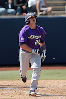 Josh Elander #24 of the TCU Horned Frogs bats against the Cal State Fullerton Titans at Goodwin Field on February 26, 2012 in Fullerton,California. Fullerton defeated TCU 11-10.(Larry Goren/Four Seam Images)