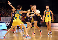 20.10.2015 Silver Ferns Jodi Brown in action during the Silver Ferns v Australian Diamonds netball test match played ay Horncastle Arena in Christchruch. Mandatory Photo Credit ©Michael Bradley.