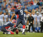 28 August 2008:  Buffalo Bills' place kicker Rian Lindell kicks a 32-yard field goal to open the scoring in the first quarter against the Detroit Lions at Ralph Wilson Stadium in Orchard Park, NY. The Lions defeated the Bills 14-6 in their fourth and final pre-season game...Mandatory Photo Credit: Ed Wolfstein Photo
