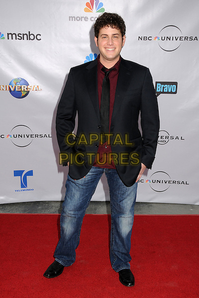 """DAVID BLUE .The Cable Show 2010 """"An Evening with NBC Universal"""" held at Universal Studios Hollywood, Universal City, California, USA..May 12th, 2010.full length suit jacket tie shirt black red jeans denim maroon .CAP/ADM/BP.©Byron Purvis/AdMedia/Capital Pictures."""