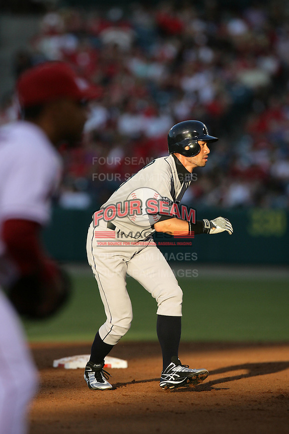 Seattle Mariners outfielder Ichiro Suzuki #51 leads off second base during game against the Los Angeles Angels at Angel Stadium on July 9, 2011 in Anaheim,California. (Larry Goren/Four Seam Images)