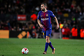 11th January 2018, Camp Nou, Barcelona, Spain; Copa del Rey football, round of 16, 2nd leg, Barcelona versus Celta Vigo; Jordi Alba of FC Barcelona looks up to pass the ball
