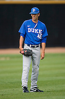 Christopher Manno #49 of the Duke Blue Devils at the Wake Forest Baseball Park April 23, 2010, in Winston-Salem, NC.  Photo by Brian Westerholt / Sports On Film