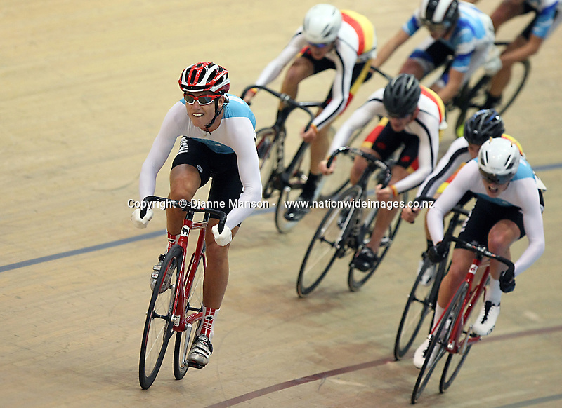 WCNI Campbell Stewart out front in the M17 points race at the Age Group and Omnium track national championships, SIT Zero Fees Velodrome, Invercargill, New Zealand, Saturday, March 08, 2013. Credit:NINZ/Dianne Manson