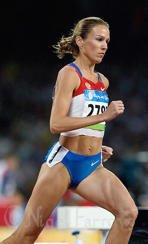 17 AUG 2008 - BEIJING, CHN - Gulnara Galkina-Samitova (RUS) wins the Womens 3000m Steeplechase final in a new World record time of 8 minutes 58.81 seconds - Beijing Olympics. (PHOTO (C) NIGEL FARROW) *** IOC RULES APPLY ON USAGE ***
