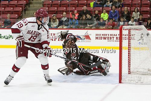 Jimmy Vesey (Harvard - 19) scores. - The Harvard University Crimson defeated the visiting Brown University Brown Bears 5-2 (EN) on Saturday, November 7, 2015, at Bright-Landry Center in Boston, Massachusetts.