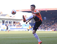Dan Potts of Luton Town controls the ball during the Sky Bet League 2 match between Luton Town and Crawley Town at Kenilworth Road, Luton, England on 12 March 2016. Photo by Liam Smith.