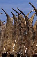 Amérique/Amérique du Sud/Pérou/Env de Chiclayo/Pimentel : Bateaux de pêche Caballito de Totora fait de roseaux tressés