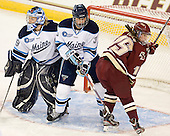 Brittany Ott (Maine - 29), Chloe Tinkler (Maine - 3), Emily Field (BC - 15) - The visiting University of Maine Black Bears defeated the Boston College Eagles 5-2 on Sunday, October 30, 2011, at Kelley Rink in Conte Forum in Chestnut Hill, Massachusetts.
