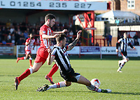 Craig Disley of Grimsby Town tackles Shay McCartan of Accrington Stanley <br /> during the Sky Bet League 2 match between Accrington Stanley and Grimsby Town at the Fraser Eagle Stadium, Accrington, England on 25 March 2017. Photo by Tony  KIPAX / PRiME Media Images.