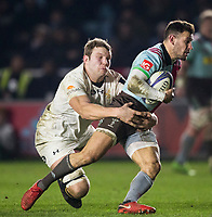 Harlequins' Danny Care is tackled by Wasps' Joe Launchbury<br /> <br /> Photographer Bob Bradford/CameraSport<br /> <br /> European Rugby Challenge Cup - Harlequins v Wasps - Sunday 13th January 2018 - Twickenham Stoop - London<br /> <br /> World Copyright &copy; 2018 CameraSport. All rights reserved. 43 Linden Ave. Countesthorpe. Leicester. England. LE8 5PG - Tel: +44 (0) 116 277 4147 - admin@camerasport.com - www.camerasport.com