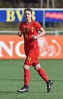 20180326 - ZALTBOMMEL , THE NETHERLANDS : Belgian Zenia Mertens pictured during the UEFA Women Under 17 Elite round game between Belgium WU17 and Romania WU17, on the second matchday in group 1 of the Uefa Women Under 17 elite round in The Netherlands , monday 26 th March 2018 . PHOTO SPORTPIX.BE    DIRK VUYLSTEKE