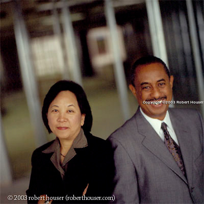 Gary T. Lafayette and Susan T. Kumagai - Attorneys - Lafayette & Kumagai: Executive portrait photographs by San Francisco - corporate and annual report - photographer Robert Houser.