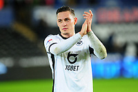 Connor Roberts of Swansea City applauds the fans at the final whistle during the Sky Bet Championship match between Swansea City and Charlton Athletic at the Liberty Stadium in Swansea, Wales, UK.  Thursday 02 January 2020
