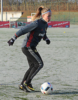 20170118 - TUBIZE , Belgium : Belgian Jana Coryn pictured during a training session of the Belgian national women's soccer team Red Flames during their winter camp, on the 18 th of January in Tubize. PHOTO DIRK VUYLSTEKE | Sportpix.be