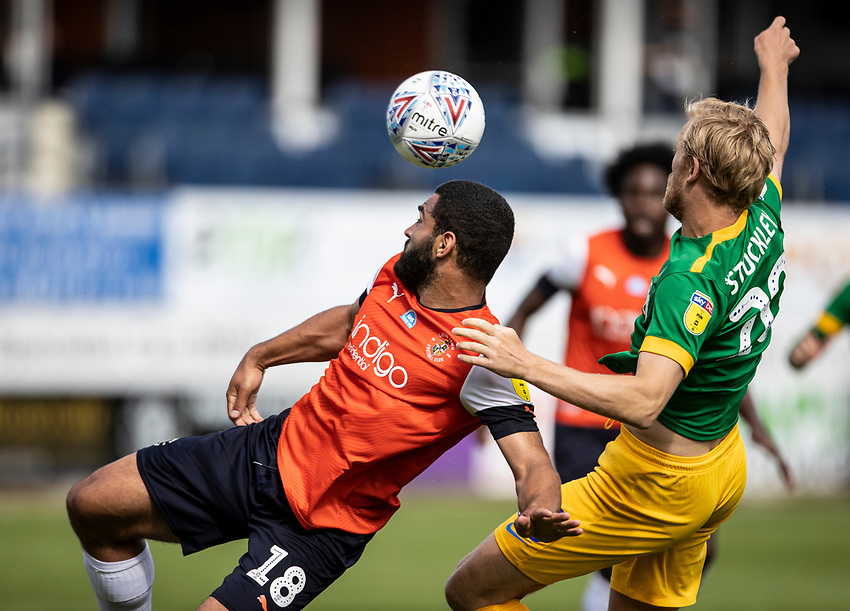 Preston North End's Jayden Stockleycompeting with Luton Town's Cameron Carter-Vickers (left) <br /> <br /> Photographer Andrew Kearns/CameraSport<br /> <br /> The EFL Sky Bet Championship - Luton Town v Preston North End - Saturday 20th June 2020 - Kenilworth Road - Luton<br /> <br /> World Copyright © 2020 CameraSport. All rights reserved. 43 Linden Ave. Countesthorpe. Leicester. England. LE8 5PG - Tel: +44 (0) 116 277 4147 - admin@camerasport.com - www.camerasport.com