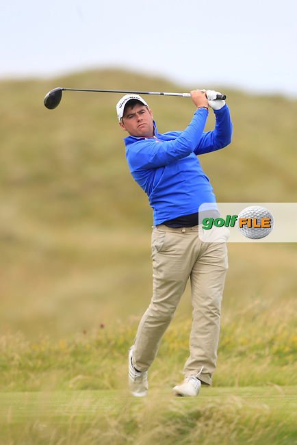 Gary Collins (Rosslare) on the 2nd tee during Matchplay Round 4 of the South of Ireland Amateur Open Championship at LaHinch Golf Club on Saturday 25th July 2015.<br /> Picture:  Golffile | TJ Caffrey