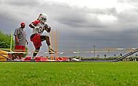 May 20, 2009; Tempe, AZ, USA; Arizona Cardinals running back Tim Hightower runs drills during organized team activities at the Cardinals practice facility. Mandatory Credit: Mark J. Rebilas-