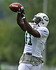 Jeremy Ross #11 of the New York Jets makes a catch during team training camp at Atlantic Health Jets Training Center in Florham Park, NJ on Friday, Aug. 5, 2016