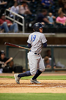 Pensacola Blue Wahoos shortstop Luis Gonzalez (19) grounds out during a game against the Birmingham Barons on May 8, 2018 at Regions Field in Birmingham, Alabama.  Birmingham defeated Pensacola 5-2.  (Mike Janes/Four Seam Images)