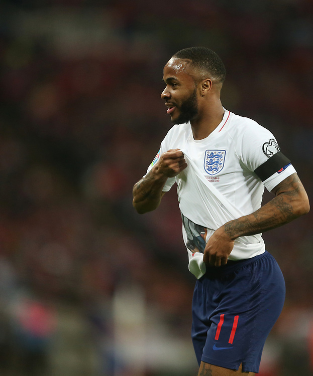England's Raheem Sterling celebrates scoring his side's third goal <br /> <br /> Photographer Rob Newell/CameraSport<br /> <br /> UEFA Euro 2020 Qualifying round - Group A - England v Czech Republic - Friday 22nd March 2019 - Wembley Stadium - London<br /> <br /> World Copyright © 2019 CameraSport. All rights reserved. 43 Linden Ave. Countesthorpe. Leicester. England. LE8 5PG - Tel: +44 (0) 116 277 4147 - admin@camerasport.com - www.camerasport.com