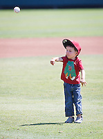 Stanford - April 18, 2015: First pitch before the Stanford vs Utah baseball game on Klein Field at Sunken Diamond  Saturday afternoon at Stanford.<br /> <br /> Stanford won 8-1.