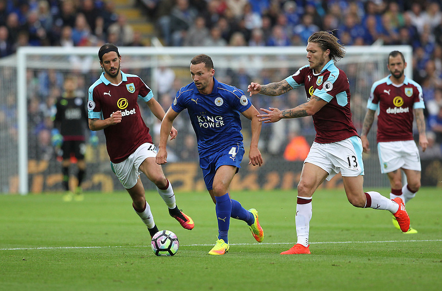 Leicester City's Daniel Drinkwater in action during todays match  with Burnley's Jeff Hendrick<br /> <br /> Photographer Rachel Holborn/CameraSport<br /> <br /> The Premier League - Leicester City v Burnley - Saturday 17th September 2016 - King Power Stadium - Leicester <br /> <br /> World Copyright &copy; 2016 CameraSport. All rights reserved. 43 Linden Ave. Countesthorpe. Leicester. England. LE8 5PG - Tel: +44 (0) 116 277 4147 - admin@camerasport.com - www.camerasport.com