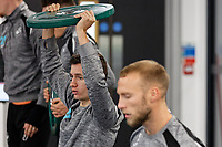 (L-R) Bersant Celina and Mike van der Hoorn exercise in the gym during the Swansea City Training at the Fairwood Training Ground, Swansea, Wales, UK. Thursday 22 November 2018