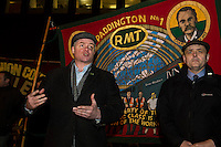 Members of the RMT & TSSA trade Unions go on strike over proposed cuts to station staff on London Underground. 4-2-14 RMT deputy general secretary Steve Hedley adresses as strike rally in Euston Station.