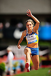 04.06.2011, Eugene, USA, Prefontaine Classic Track Meet, im Bild Olha Saladukha (UKR) wins the women's triple jump with a leap of 14.98 meters at the Prefontaine Classic Track and Field meet at Hayward Field in Eugene, Oregon. June 4, 2011..
