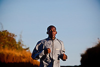 Kenyan runner Johanna Kariankei, 17 training in the early morning. Kenyan athletes are hit by the economic crisis which has robbed races and runners of crucial sponsorship. Johanna, who has never run outside Kenya, hopes the crisis will pass and he will be able to fulfil his dream of winning good money from international races.