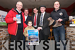 Fionnan Ó Hógain, little Tom Ó Neachtain, Colm Bambury (Dingle Walks), Jim Garvey (Garvey Group), Michael Healy-Rae TD and Xavier Baker (Dingle Brewery) launching the Dingle Walking Festival at Danno's on Monday evening.
