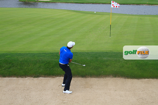 Pablo Larrazabal (ESP) plays out of a greenside bunker at the 16th hole during Thursday's Round 1 of the Open de Espana at Real Club de Golf de Sevilla, Seville, Spain, 3rd May 2012 (Photo Eoin Clarke/www.golffile.ie)