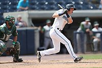 West Michigan Michigan Whitecaps outfielder Cole Bauml (16) follows through on his swing against the Fort Wayne TinCaps during the Midwest League baseball game on April 26, 2017 at Fifth Third Ballpark in Comstock Park, Michigan. West Michigan defeated Fort Wayne 8-2. (Andrew Woolley/Four Seam Images via AP Images)