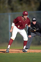 Boston College Eagles first baseman Joe Cronin (4) during a game against the Indiana State Sycamores on February 27, 2016 at North Charlotte Regional Park in Port Charlotte, Florida.  Boston College defeated Indiana State 5-3.  (Mike Janes/Four Seam Images)