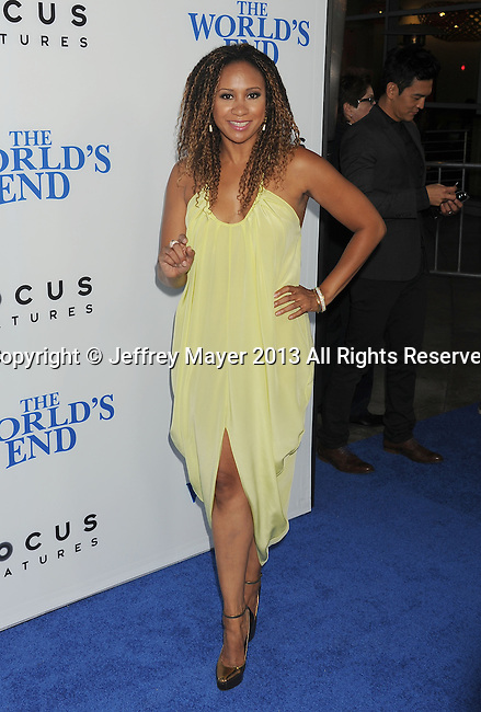 HOLLYWOOD, CA- AUGUST 21: Actress Tracie Thoms arrives at the Los Angeles premiere of 'The World's End' at ArcLight Cinemas Cinerama Dome on August 21, 2013 in Hollywood, California.